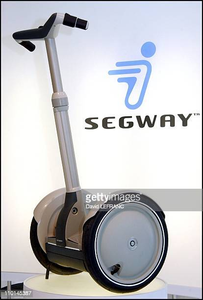 """Inventor Dean Kamen presents the """"Segway Human Transporter"""" in New York, United States on December 03, 2001 - The Segway is the first self-balancing..."""