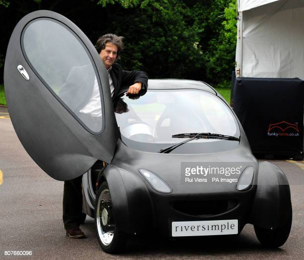Inventor Hugo Spowers with a prototype of the Riversimple hydrogen fuel cell car at De Montfort Hall in Leicester