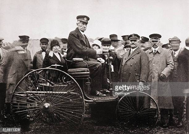 Inventor Karl Benz seated on the 1885 Benz Motorwagen The motorwagen was the first motor vehicle ever to be sold to the public Manufactured at the...