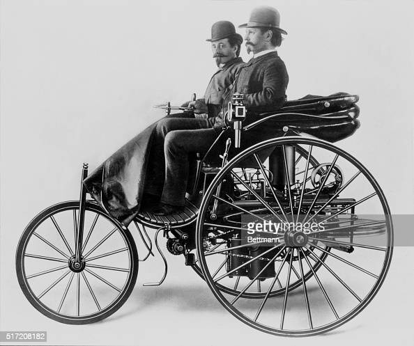 The World S First Automobile The Benz Patent Motorwagen: Inventor Karl Benz With His Assistant Josef Brecht Seated