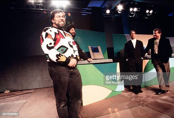 Inventor of the Apple computer Steve Wozniak with Steve Jobs and Gilbert Amelio during the MACWorld Expo Keynote Speech
