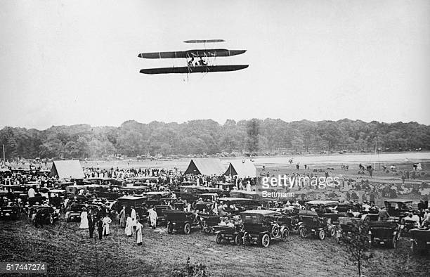 Inventor Orville Wright and Lt Frank Purdy Lahm of the US Signal Corps making the world's record flight at Fort Myer on July 27 The aeroplane made...