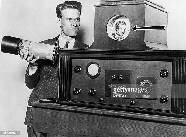Inventor Philo T Farnsworth displays his latest version of the television
