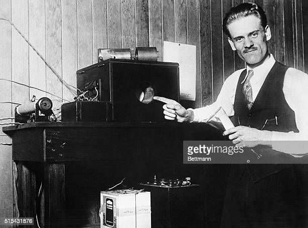 Inventor Philo T Farnsworth with his invention the first electronic television