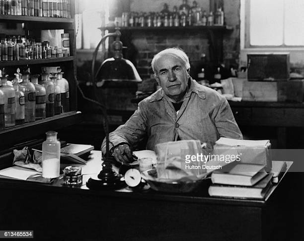 Inventor Thomas Edison at work in his West Orange New Jersey laboratory