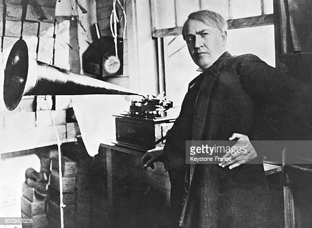 Inventor Thomas Edison with his gramophone in 1928 in the United States