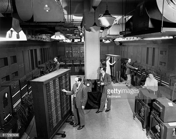 Inventors J Presper Eckert and JW Mauchly work on the Electronic Numerical Integrator and Computer which was formally dedicated at the Moore School...