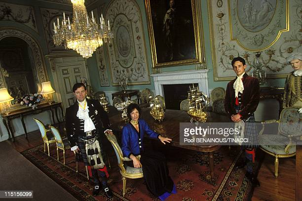 Inveraray Castle Chief of Campbell clan in United Kingdom in June 1994 Duke of Argyll his wife and son in the main diningroom