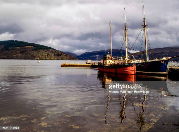 Inveraray harbour, with The Vital Spark moored. Inveraray, Loch Fyne, Argyll and Bute, Scotland, April 2014.