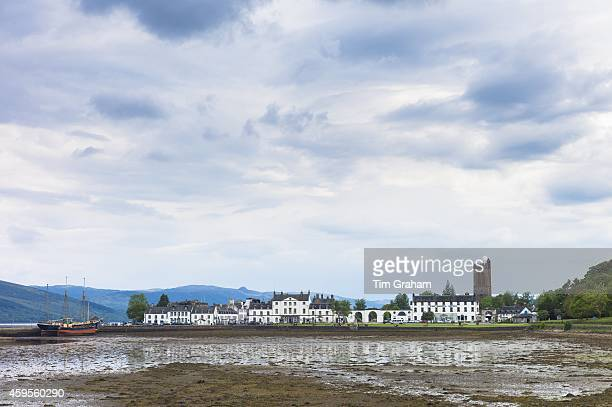 Inveraray with the Argyll Hotel in Mid Argyll at low tide in the Loch Fine estuary in the Argyll and Bute region of Scotland