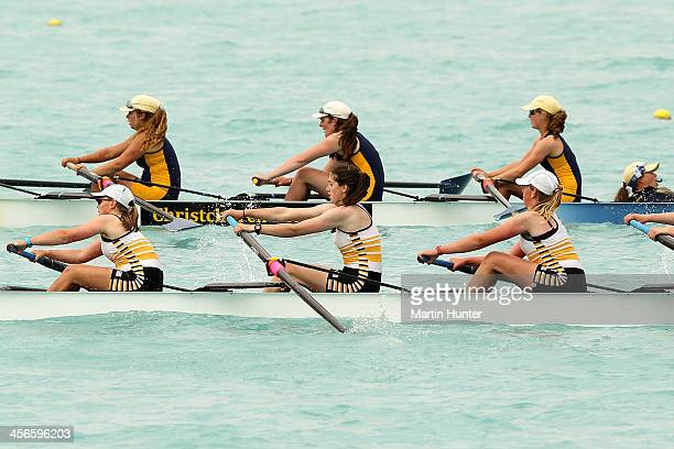 Invercargill Girls coxed four during the 2013 Meridian Otago Championships at Lake Ruataniwha on December 15, 2013 in Otago Harbour, New Zealand.