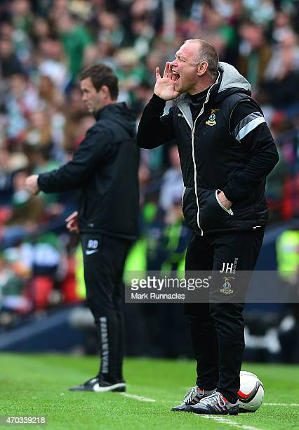 Inverness Caledonian Thistle manager John Hughes watches on during the William Hill Scottish Cup Semi Final match between Inverness Caledonian...