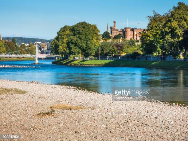 inverness castle and infirmary bridge over river ness scotland - inverness stock photos and pictures
