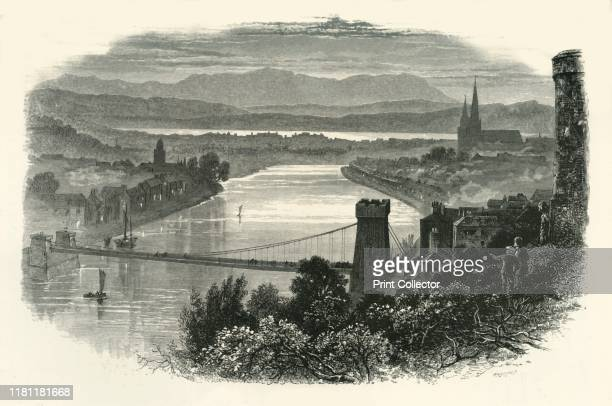 """Inverness', circa 1870. Bridge over the River Ness with view of the city of Inverness in Scotland. From """"Picturesque Europe - The British Isles, Vol...."""