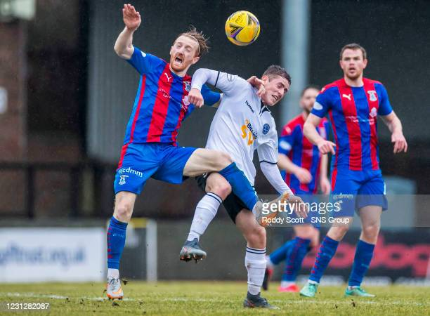 Inverness David Carson and Ayr's Luke McCowan during a Scottish Championship match between Ayr United and Inverness Caledonian Thistle at Somerset...