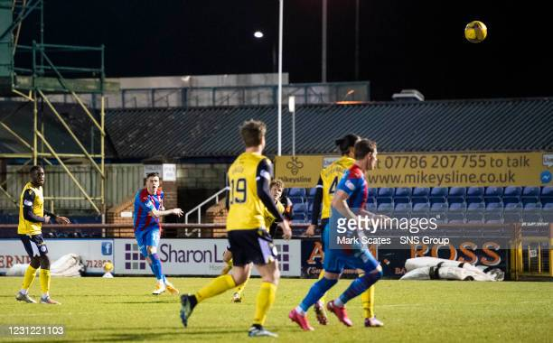 Inverness' Miles Storey sees a shot from long range hit the crossbar during a Scottish Championship match between Inverness Caledonian Thistle and...