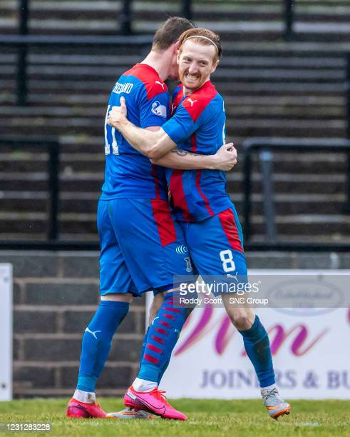 Inverness' Shane Sutherland celebrates making it 2-0 with David Carson during a Scottish Championship match between Ayr United and Inverness...