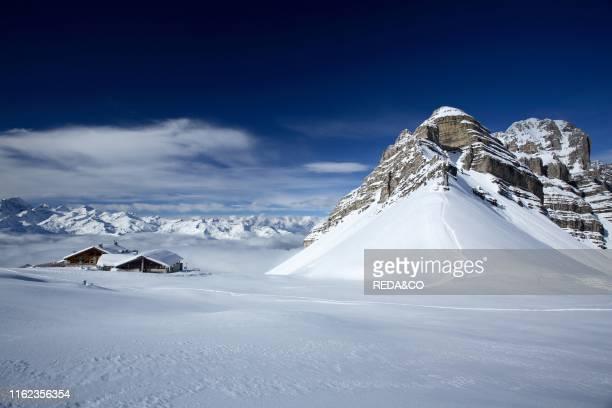 Inverno montagna panoramica neve paesaggio invernale nelle Dolomiti di Brenta presso Madonna di Campiglio sullo sfondo il Gruppo Adamello Presanella...