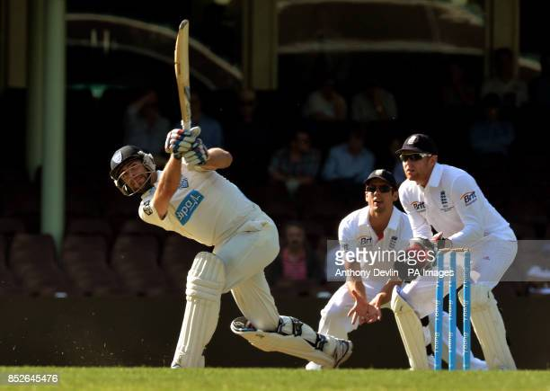 CA Invertational XI's Ryan Carters hits a six during an international match at the Sydney Cricket Ground Sydney