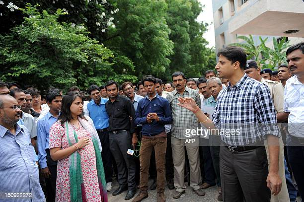 Investigating Officer of the Naroda Patya Riot case Himanshu Shukla interacts with the media representatives before the beginning of the court...