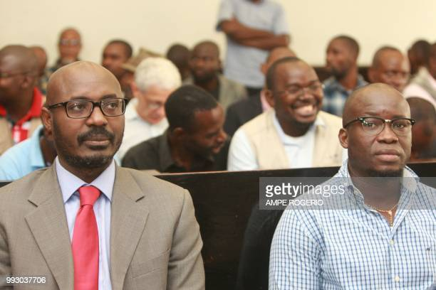 Investigative journalist Rafael Marques and editor Mariano Lourenco await sentencing in Luanda on July 6, 2018. - Two Angolan journalists were...