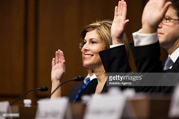 Investigative journalist Sharyl Attkisson is sworn in with other witnesses at the confirmation hearing for Loretta Lynch to replace US Attorney...
