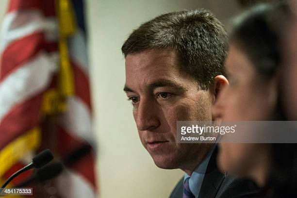 Investigative reporter Glenn Greenwald who worked with National Security Agency leaker Edward Snowden speaks at a press conference after accepting...