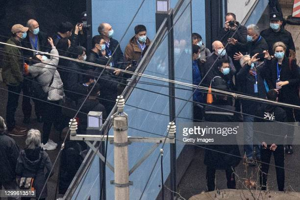 Investigative team members from the World Health Organization visit Huanan seafood market on January 31, 2021 in Wuhan, China. With no recorded cases...