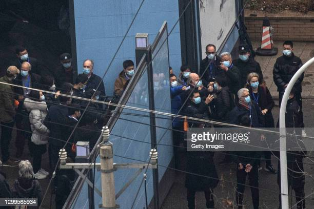 Investigative team members of the World Health Organization visit Huanan seafood market in Wuhan on January 31, 2021 in Wuhan, China. With no...