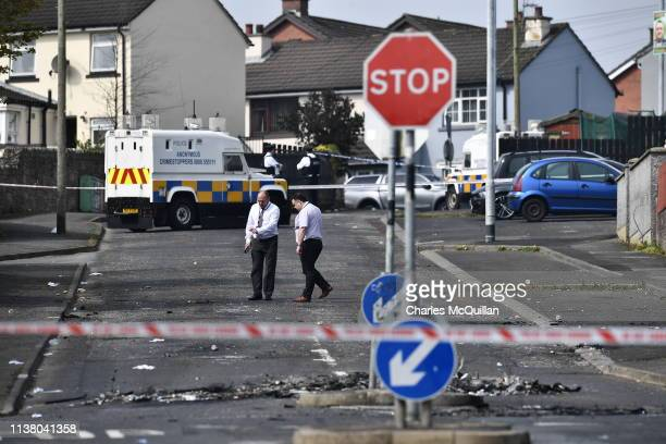 Investigators attend the scene of a shooting in which journalist Lyra McKee was killed on Fanad Drive on April 19 2019 in Londonderry Northern...