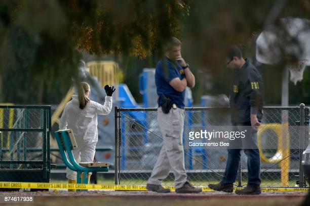 FBI investigators process evidence at the Rancho Tehama Elementary School in Rancho Tehama Reserve in Corning Calif on Tuesday Nov14 2017