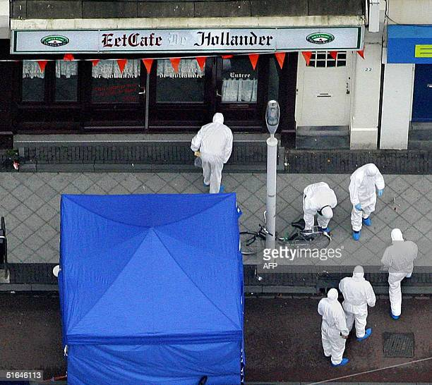 Investigators searche the area where Dutch director Theo van Gogh was murdered in Amsterdam 02 November 2004 Theo van Gogh the maverick Dutch film...