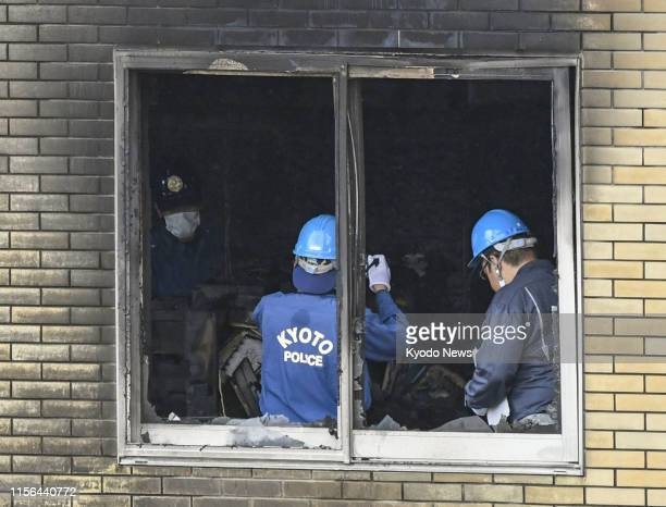 Investigators work in Kyoto on July 19 at the threestory studio of Kyoto Animation Co that was set on fire by a man the previous day leaving more...