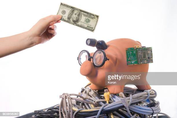 Investing in Cryptocurrency - Nerd Bitcoin Pig Bank