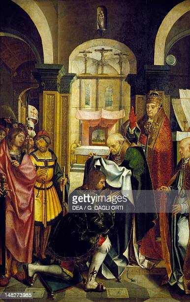Investiture of a Knight in the Order of St James, detail from the Altarpiece of St James, attributed to the Master of Lourinha . ; Lisbon, Museu...