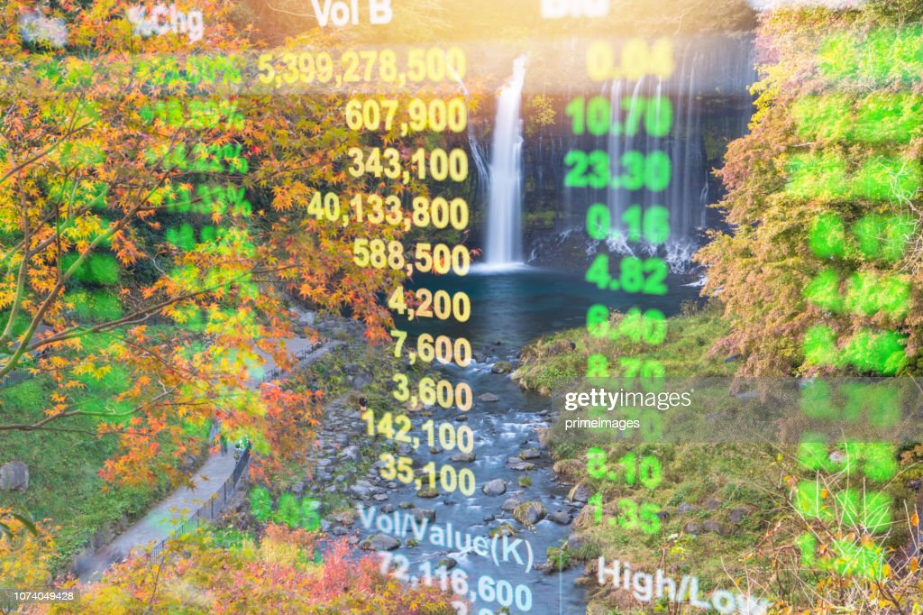 Investment and banking theme with Fuji mountain and Kawaguchiko lake in morning, Autumn seasons Fuji mountain at yamanachi in Japan. : Stock Photo