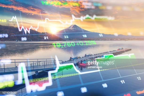 Investment and banking theme with Fuji mountain and Kawaguchiko lake in morning, Autumn seasons Fuji mountain at yamanachi in Japan.