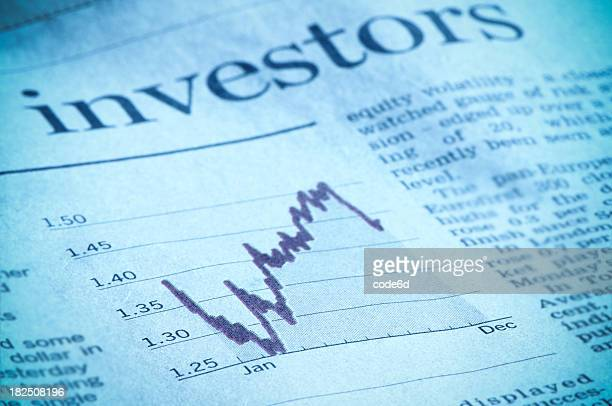 Investment diagram in financial magazine, investors headline, Euro, dollar