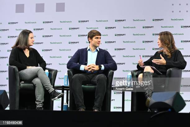 Investment Director at SoftBank Vision Fund Carolina Brochado, Partner at Accel Andrei Brasoveanu and Connie Loizos speak on stage at TechCrunch...
