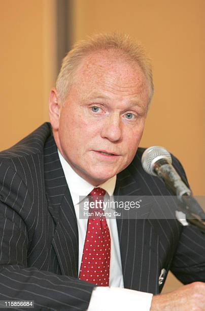 US investment fund Lone Star's founder and CEO John Grayken arrives for a press conference at 63 building on April 19 in Seoul South Korea where...