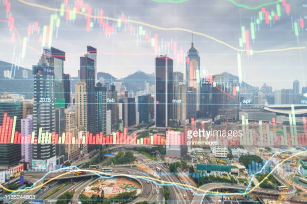 investment theme background with aerial panoramic view of the hong kong city skyline and victoria harbour at sunset at china - economia foto e immagini stock