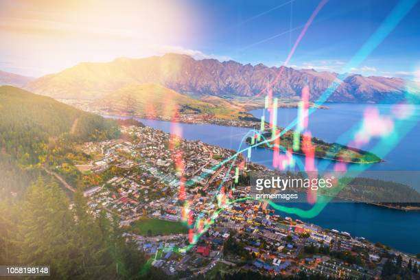 investment theme of panoramic view landscape in queen town  south island new zealand - arrowtown stock pictures, royalty-free photos & images