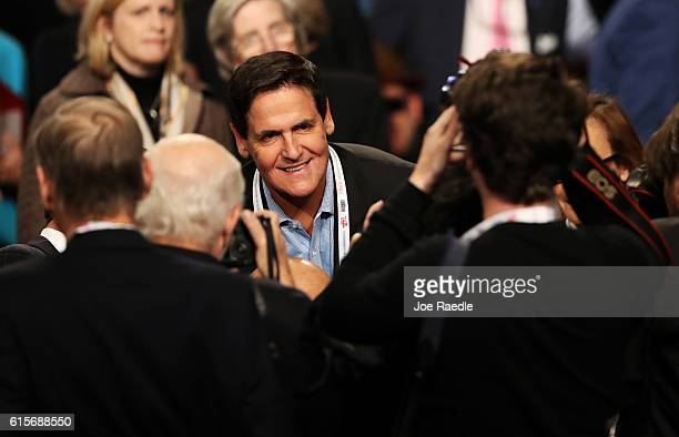 Investor and Dallas Mavericks owner Mark Cuban arrives prior to the start of the third US presidential debate at the Thomas Mack Center on October 19...