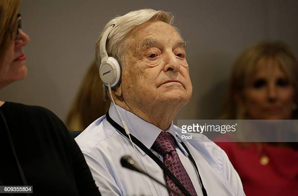 Investor George Soros attends a Private Sector CEO Roundtable Summit for Refugees during the United Nations 71st session of the General Debate at the...