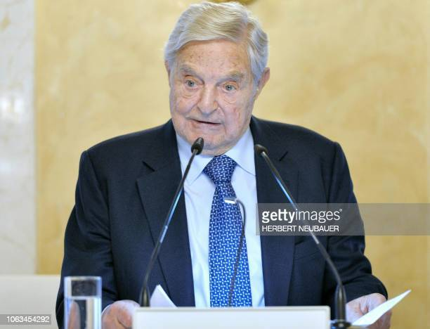 US investor George Soros gives a speech on the occasion of the 25th Anniversary of the Open Medical Institute in Vienna Austria on November 19 2018 /...