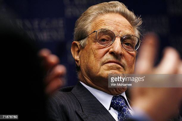 Investor George Soros speaks during a program hosted by the New America Foundation September 13 2006 in Washington DC Soros spoke on a range of...