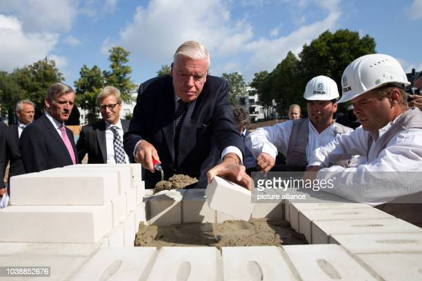 Investor Klaus-Michael Kuehne participates in the corner stone ceremony for the luxury hotel 'The Fontenay' in Hamburg, Germany, 14 August 2014....