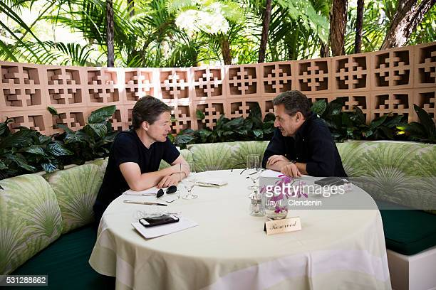 Investor philanthropist and one of the richest men in the world Nicholas Berggruen left meets with former President of France Nicolas Sarkozy at the...