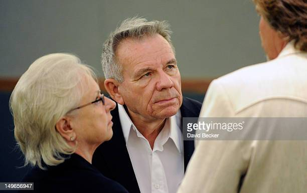 Investors Dorothy Harber and Lacy Harber speak with developer Steve Kennedy during a court recess at the Clark County Regional Justice Center on...