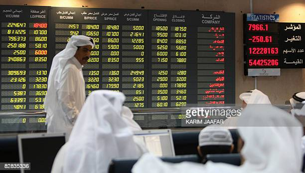 Investors follow the stock market activity on a monitor at the Doha Securities Market in Doha on September 16 2008 Global equities tumbled for a...
